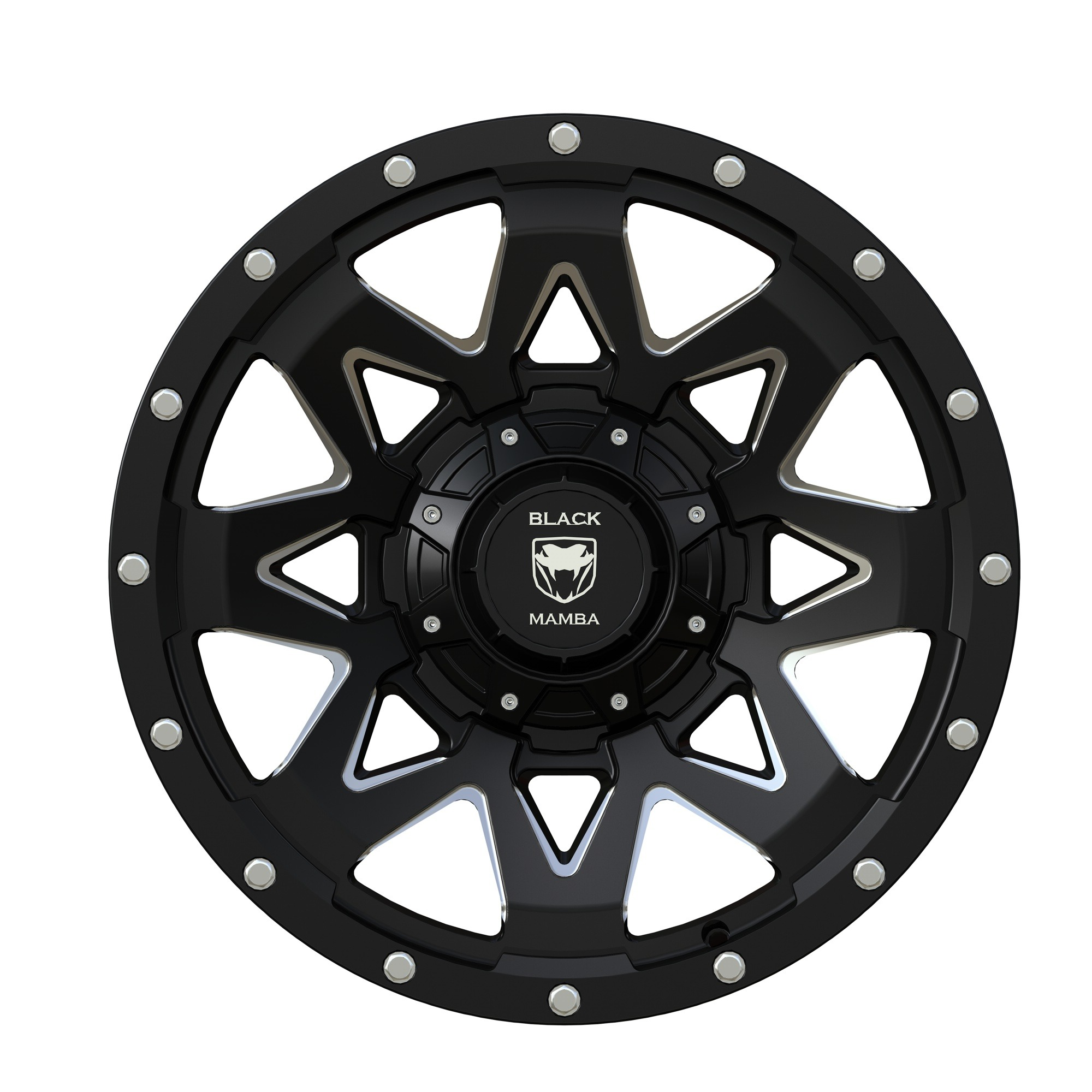 black mamba m 2 20x9 matt black with machined rivets and milling